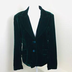 Emerald green velvet H&M blazer